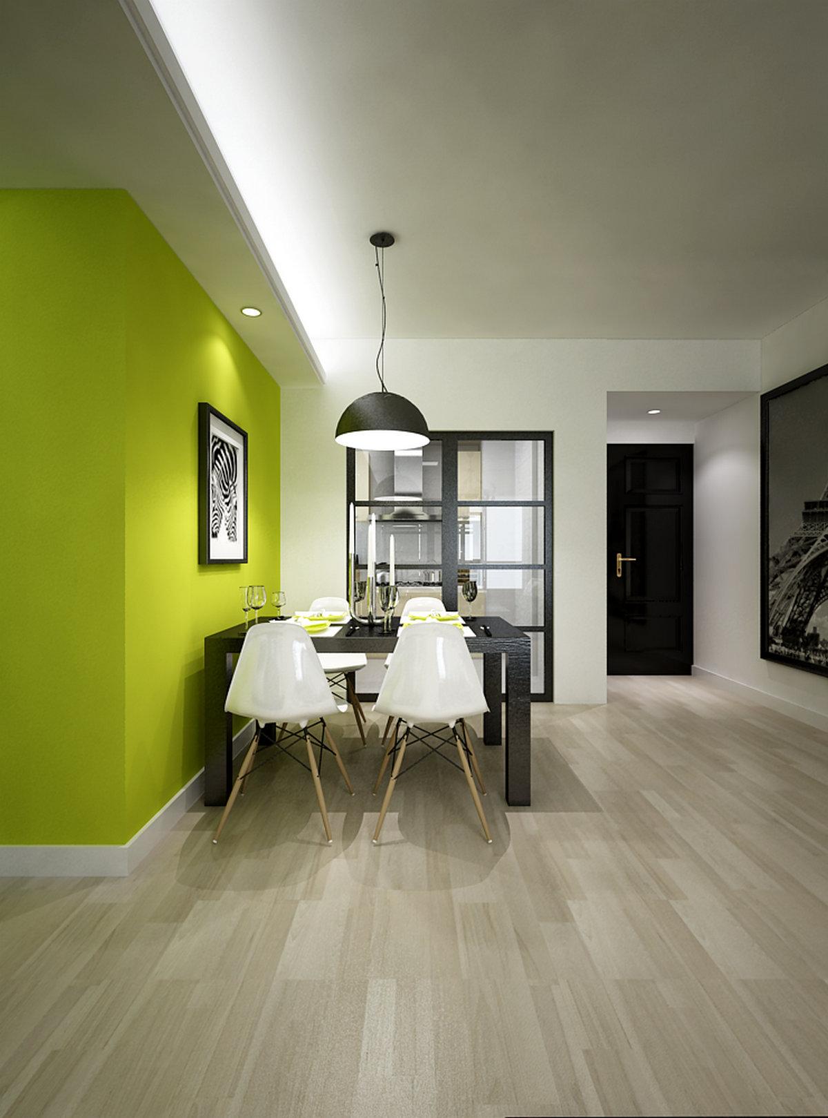 二居 现代简约 客厅 餐厅 卧室 玄关 厨房 餐厅图片来自实创装饰晶晶在现代简约黑白绿三元素结合的分享
