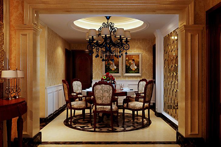 欧式 别墅 四居室 餐厅图片来自石家庄业之峰装饰在天山新公爵240平米欧式风格装修的分享