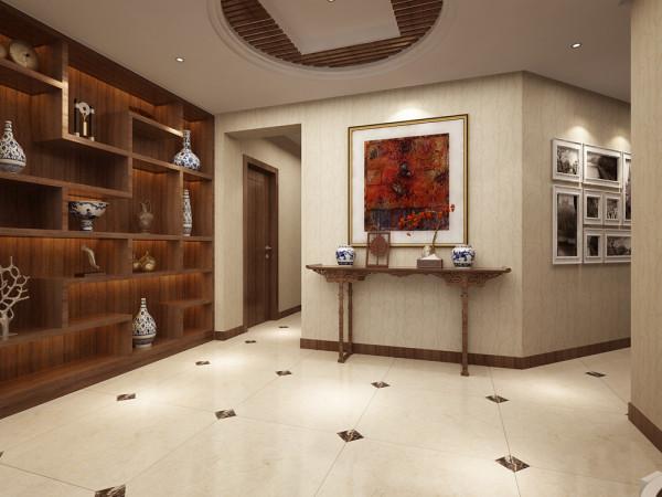 门厅是一户人家的给人的第一映像,是家居装饰整体风格体现的一个重要环节,尤其是中式风格需要突出客户的品味,对家具以及配饰的要求十分严格,顶面的吊顶处理也要突出现代中式简洁有力的文化内涵。