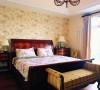 主卧室:古典式的床,欧式花纹的壁纸显得卧室更加的温馨