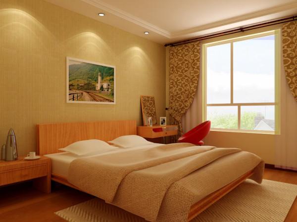 散发麦香的卧室 设计理念:卧室以淡黄色墙纸做背景,搭配木纹家具和亚麻质地的床单,营造午后麦田的清新气氛,让人仿佛能闻到淡淡麦香。