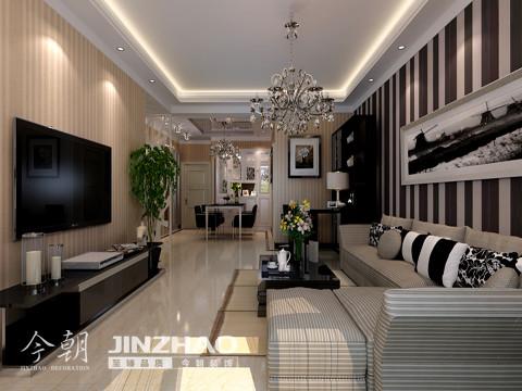 客厅:纵观客厅整体简约、大方、雅致。通过整体色彩的搭配,让时尚、雅致的色彩迸发出来。线条型的设计在视觉上面增大了客厅的空间。