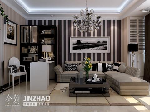 沙发墙:白色与巧克力色的搭配,有种大气时尚的感觉,白色框架的水墨挂画,赋予了客厅几分雅致书香的气息。