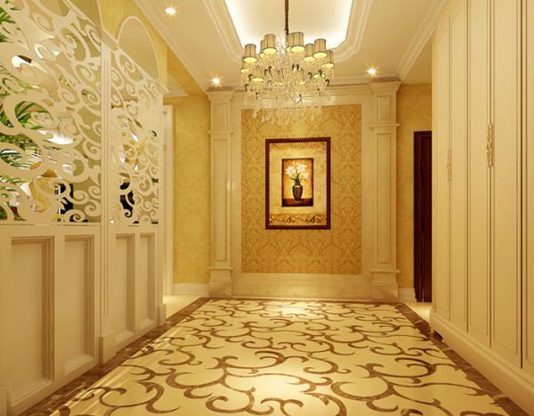 地面铺装部分,不同的功能区铺装以不同的材质,既舒适实用,又 显示出主人的个性;根据功能需求,兼顾设计因素,搭配使用墙漆和壁纸,实 用美观,充分体现了客户所追求的欧式风格