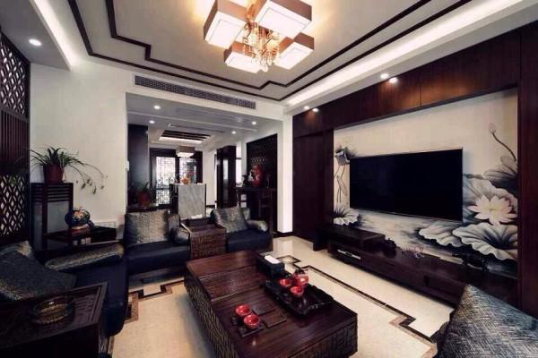 色彩和吊灯的设计让客厅变得典雅又不失现代的风格