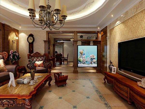 此设计方案定位为美式风格,有文化感、有贵气感、自在感与情调感是此方案的精髓。客厅作为待客区域, 力求明快光鲜,材质主要以石材和木饰面做装饰地砖采用仿古砖是整个客厅达到宽敞而富有历史气息。