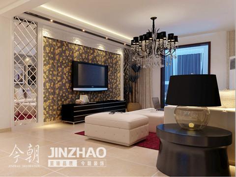 电视墙:电视是客厅不可或缺的家居,所以电视墙尤为重要。雅致墙纸,菱形茶镜的设计增强了视觉空间的立体效果。时尚雅致的电视墙成为客厅的一大亮点。