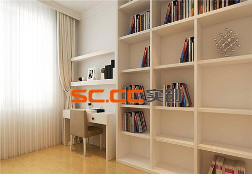 书房色调主要为白色调,与书桌整为一体,主要实现读书学习功能。