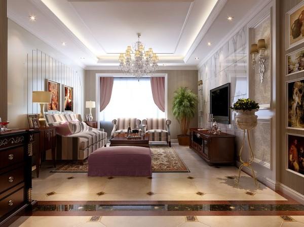 奢华与品质生活的结合民安北郡三居室简约欧式风格装修设计效果图【民安北郡客厅设计效果图】