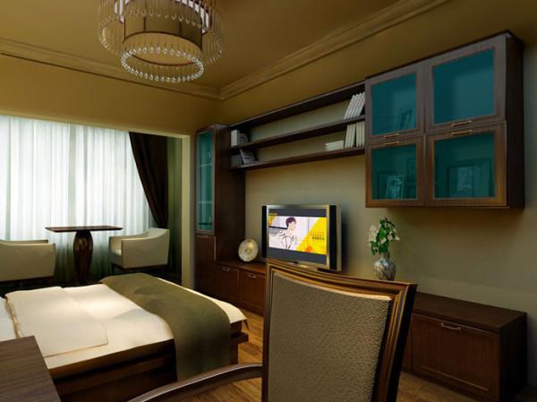 设计理念:卧室采用了淳朴简约的中式家具灰色的床品,使空间既彰显业主不俗的品味又加强了温馨舒适的居住感受