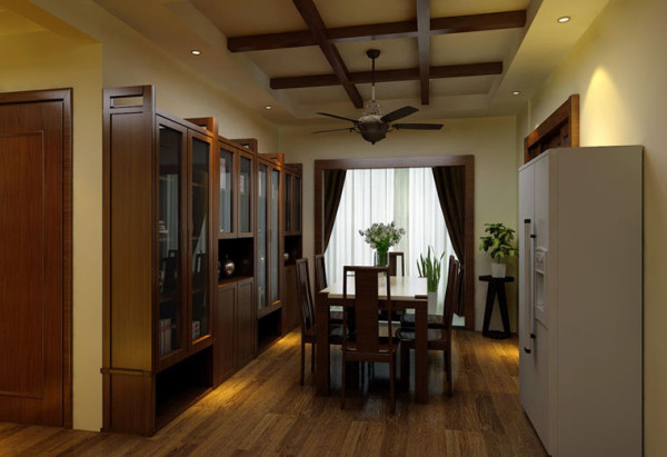 设计理念:餐厅采用稳重深色调来搭配来迎合整个空间造型,不同的是顶面则融入东南亚风格,风扇灯造型使风格不偏不离,就餐时给人心意。