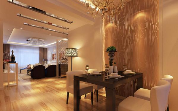 本案餐厅的设计巧妙的利用了餐厅两面墙的空间,配上有背景光的酒柜,和壁纸形成对比色餐边柜。