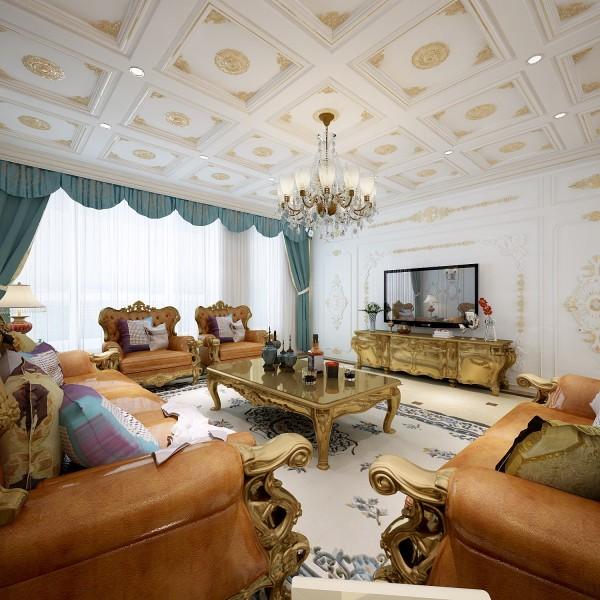 法式客厅非常需要用家具和软装饰来营造整体效果,家具奢华的金色与皮革都是客厅里的主角。