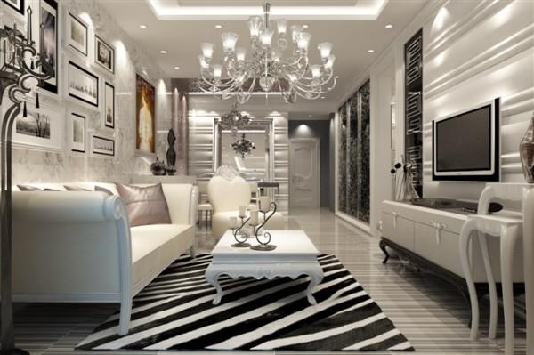 :轻装修重装饰,银灰色的色调整体突显高贵的气质。黑白条纹地毯使整个空间有灵动延展性。打破欧式考究的束缚,使现代风格和欧式风格更好的融合。