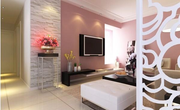 浅粉色电视背景墙、文化石壁纸,搭配暖色调的软装,使客厅看起来更加温馨。