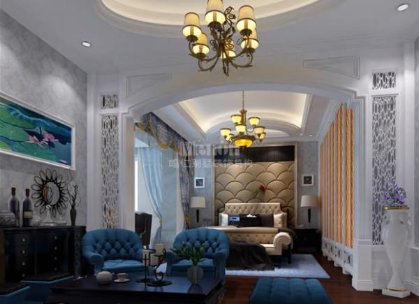 宽敞的空间,温馨的灯光,配以蓝色的沙发,巧妙的搭配出宫殿般的卧室。