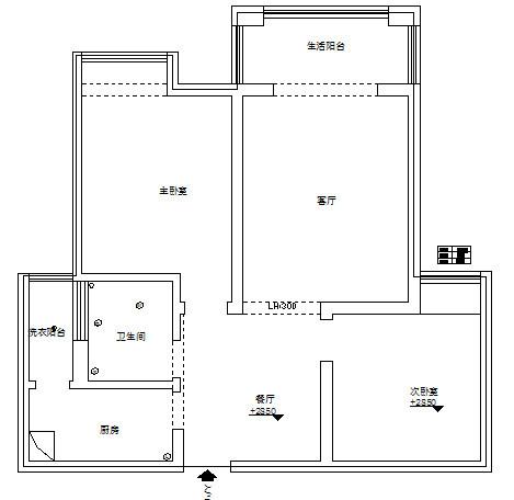 瀚海泰苑88平方两室两厅装修案例,户型图