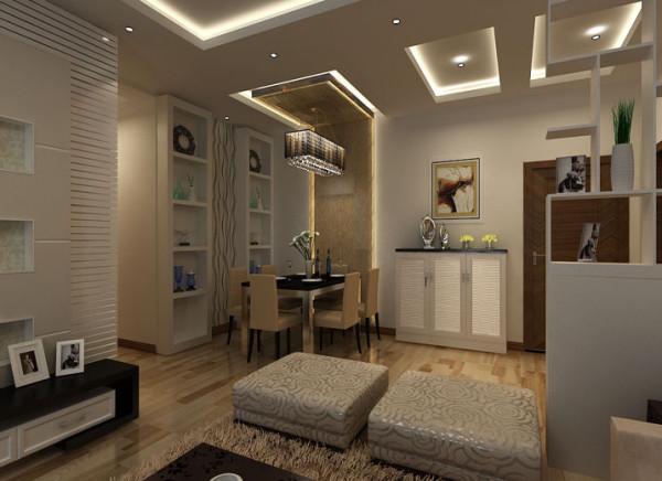 设计理念:以纯白色的酒柜和鞋柜搭配暖黄色的餐桌背景使整个空间显得既温馨又有层次感。 亮点:利用酒柜和鞋柜的搭配将整个空间的利用率达到极致。