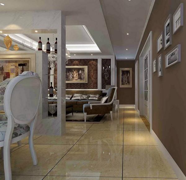 济南实创装饰装修-海尔绿城198平米-简约欧式风格装修案例效果图-玄关设计