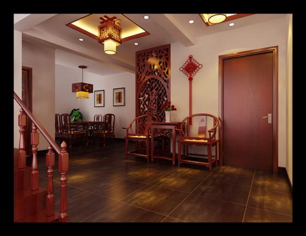 灯的指引,圈椅的间歇,中国结的修饰,客厅与餐厅相濡以沫的承载。