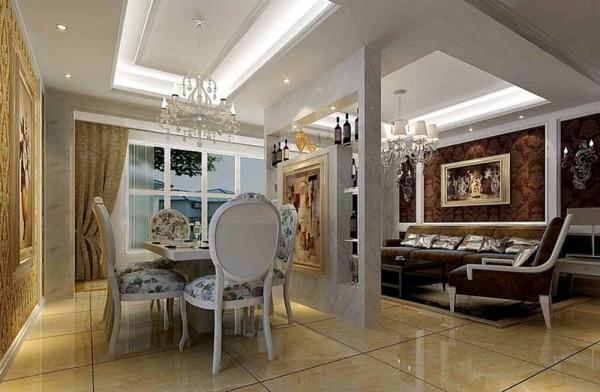 济南实创装饰装修-海尔绿城198平米-简约欧式风格装修案例效果图-餐厅设计