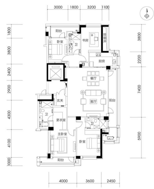 济南实创装饰装修-海尔绿城198平米-简约欧式风格装修案例效果图-平面布置方案