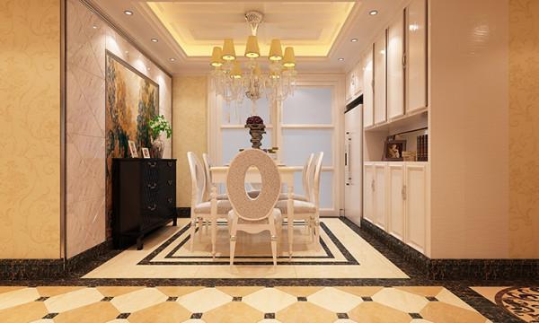 餐厅的设计,餐边柜,壁画,储物柜一体化,仔细看,冰箱和柜子连在一起,规整。家庭聚会,款待朋友,舒适,地方宽裕。给男女主人大显身手很好的平台。