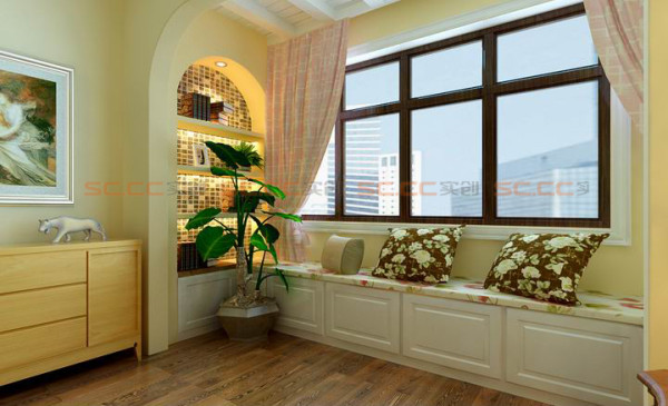 卧室地台旁设计类似书房,闲暇时可以靠在靠包上看看书^