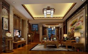 别墅 中式 别墅装修 中式别墅 熙龙湾别墅 高富帅 客厅图片来自名雕丹迪在熙龙湾360平新中式别墅的分享