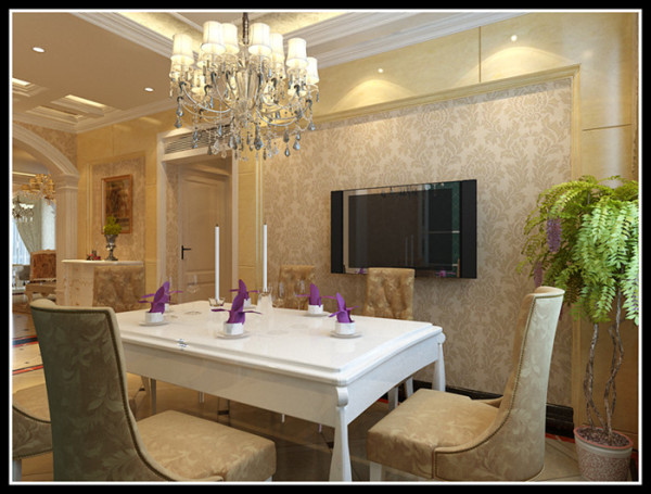客厅的光线不是很好,所以运用镜子扩大与增强空间的亮度。客厅地 面材质以微晶石卧室为地板。