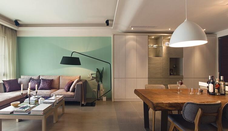 落地灯 沙发 绿墙 四居 简约 质感 材质 川豪图片来自合肥川豪装饰王琴在160㎡落地灯+布沙发+绿墙面的分享