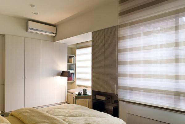 160㎡落地灯+布沙发+绿墙面卧室,透透的窗帘,迎合着卧室的温暖气氛