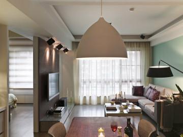 160㎡落地灯+布沙发+绿墙面