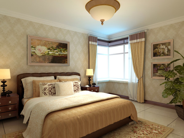 主卧室:没有过多的装饰,墙壁上的壁画既节省了空间又增添了艺术氛围,给人感觉温馨而舒适!