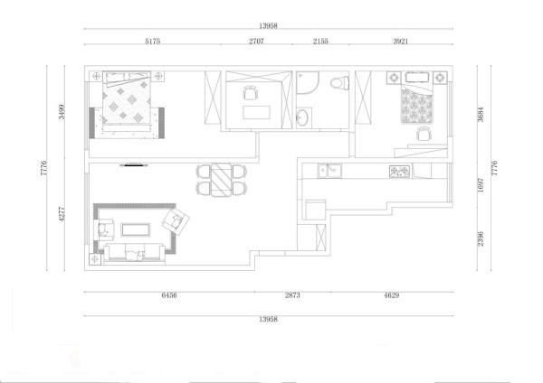 入户门进去,右手边是鞋柜的地方,往里走是厨房的位置,在接下来是次卧室的位置,在向左转是卫生间的位置,接下来是带有书房的主卧室,最后是客餐厅的位置