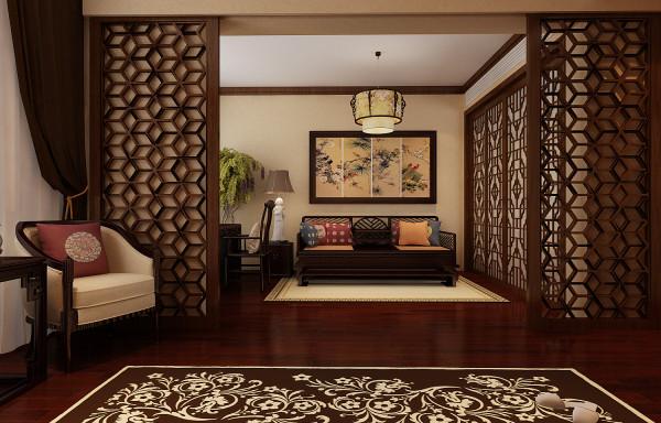 主卧空间内利用镂空雕花的隔断隔离出一个休闲的区域,主人们可以在休闲的时间聚集在此彼此安静的沟通,安静的共处一室感受彼此心心相印的默契。