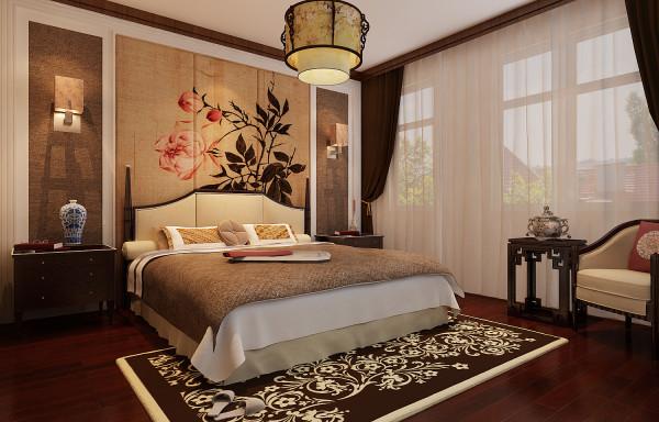 主卧空间内床头背景墙上的牡丹花开富贵寓意美好,带有简约中式元素的灯具,床以及其他的家具,为主卧空间平添了一丝温馨,和谐,浪漫气氛。