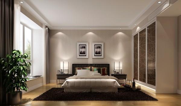主卧室用现代简约家具来打造的优雅细腻的休息空间,暖色的墙漆,使整个空间显得更为温馨!本方案得到了业主的强烈赞美。