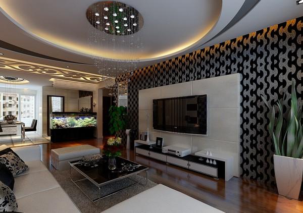 客厅彰显出高大上的感觉。沙发背景墙采用浪漫紫色跟黑白色条纹想结合,色彩跟线条美很到位;圆形吊顶增强了空间感;米色皮沙发可以看出主人的生活品味。