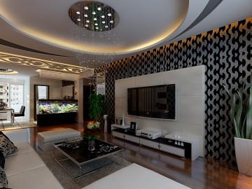 黑白时尚简约100平三室两厅婚房