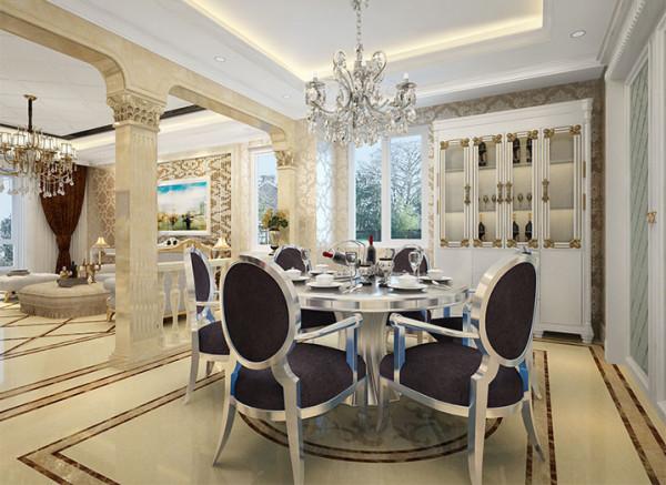 设计理念:餐厅中的家具亦经过了精心的设计,呈现出华贵而厚重的质感。款式时尚的圆形欧式餐桌不仅为餐厅添加了精致的美感,也营造出一种私密且亲切的用餐氛围。