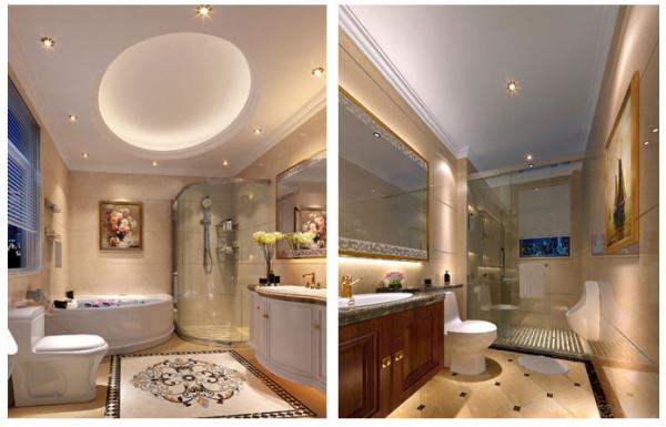透明的玻璃沐浴区,奶白色的洗漱台以及米黄的地板,使整体透露着欧式现代风。