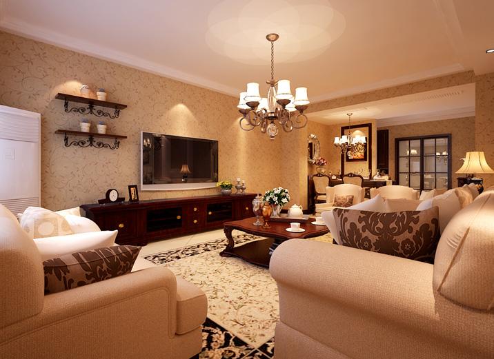 简约 美式 三居室 客厅图片来自实创装饰上海公司在高贵典雅,美式新古典的分享