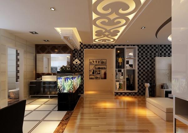 入户门整体看出黑白品质感的客厅厨房餐厅,黑色的壁纸、暖黄色的地板、白色墙面等等,细节处尽显时尚简约高大上。