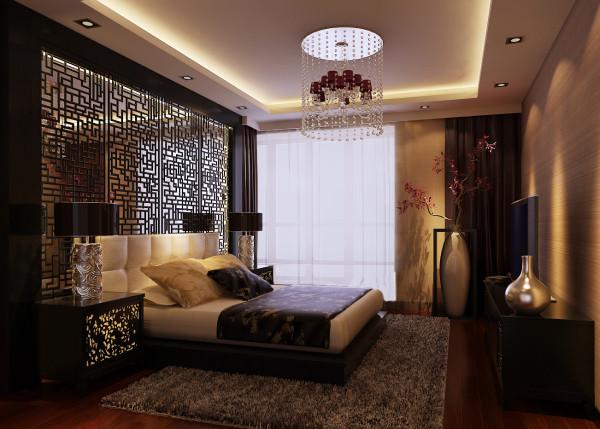 主卧室的重点为床头的背景墙,选择窗棂纹样的四徊形,搭配镜面材质和直线吊顶。
