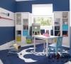 书房是整个空间里最有色彩的地方了,但是给人感觉还是简洁清爽一直延续噢!