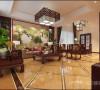 淡然中式古典文化民安北郡三居室装修设计案例【民安北郡客厅设计效果图】