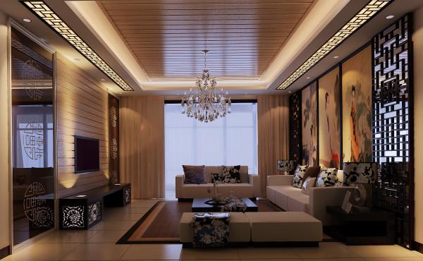 整个空间为暖色调的咖色。客厅的电视背景墙和沙发北京采用的传统的中式对称形式,电视背景和顶面选择同样的平面材质相呼应,整体的感觉融为一体。沙发的选择偏向直线条的现代感觉。使得整体风格中式又不失时尚感