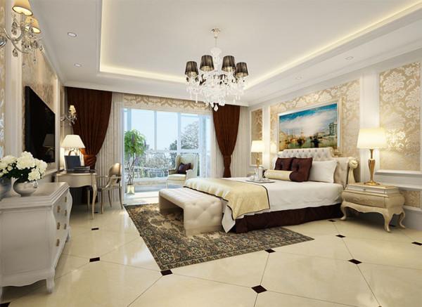 设计理念:主卧以白色与米色调为主,间以欧式花纹壁纸,在温馨、优雅中添上华贵的一笔,让其与整体空间氛围协调一致。