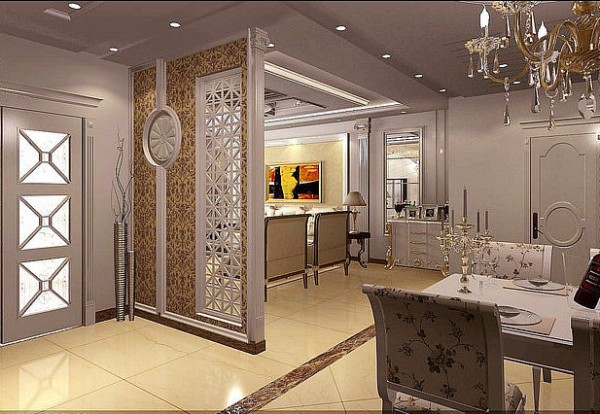 蓝宝湾115平豪华欧式餐厅和隔断效果图